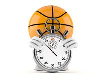 Basketball character with stopwatch. Isolated on white background. 3d illustration royalty free illustration