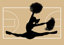 Basketball Cheerleader 2. Silhouette of cheerleader on basketball court background Royalty Free Stock Photography