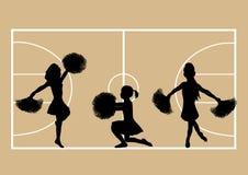 Basketball Cheerleaders 4. Illustration of cheerleaders on basketball court background Stock Images