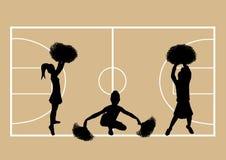 Basketball Cheerleaders 6. Illustration of cheerleaders on basketball court background Stock Image