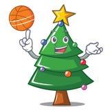 With basketball Christmas tree character cartoon. Vector illustration Stock Photos