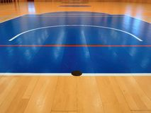 Basketball circle inside of sport hall. Royalty Free Stock Image