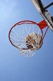 Basketball. Close up of basketball basket and ball Stock Photos