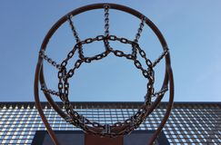 Basketball. Closeup of a metal basketball hoop Royalty Free Stock Photo