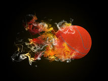 Basketball in the colored smoke Royalty Free Stock Image
