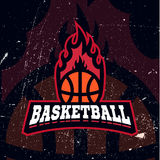 Basketball colour tournament logo. Basketball color team logo in vintage style with fire and ball . Easy to edit creative minimal label design Stock Images