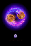 Basketball comet. Basketball ball in flames and lights against black background. Vector illustration Royalty Free Stock Image