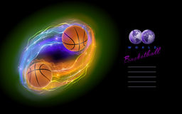 Basketball comet. Basketball ball in flames and lights against black background. Vector illustration and design template Stock Images