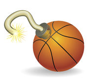 Basketball countdown illustration. Time bomb in shape of basketball concept. Represents countdown to explosive event or ongoing basketball crisis Royalty Free Stock Photo