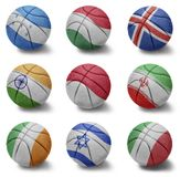 Basketball countries from H to I Royalty Free Stock Photos