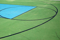 Basketball Court. Three point line of a green and blue basketball court royalty free stock image