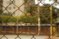 Basketball court. It was taken from the net to the court, blurred Royalty Free Stock Images