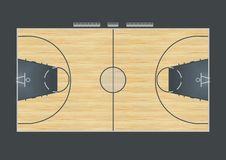 Basketball court. Illustration of a basketball court with real parquet stock illustration