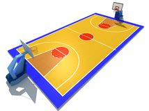 Basketball court. 3D rendered illustration of basketball court Royalty Free Stock Photos