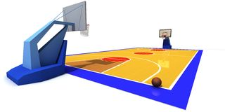 Basketball court. 3D rendered illustration of basketball court Royalty Free Stock Images