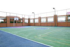 Basketball court. Empty basketball court in public playground Stock Photo