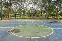 Basketball court. Abandon outdoor basketball court at garden Royalty Free Stock Image
