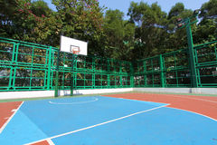 Basketball court in abstract view. It is a very colorful basketball court in an university of Hong Kong Stock Images