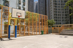 Basketball court in abstract view. It is a very colorful basketball court in an university of Hong Kong Stock Photos