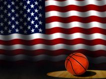 Basketball on Court with American Flag Stock Photo