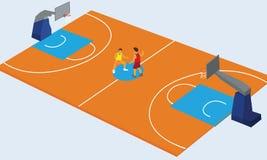 Basketball court arena match game basket player. Vector illustration stock illustration