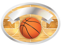 Basketball Court Badge and Banner. An illustration of a basketball court and banner. Vector EPS 10 file available. EPS file contains transparencies Stock Image