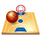 Basketball court and ball Royalty Free Stock Images