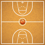 Basketball court with a ball Royalty Free Stock Photos