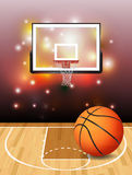Basketball Court Ball and Hoop Illustration Stock Images