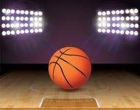 Basketball Court Ball Lights and Hoop Illustration. An illustration of a basketball on a hardwood court with a basketball hoop and lights. Vector EPS 10 Stock Image