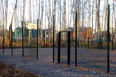 Basketball court in a birch grove. Stock Photo