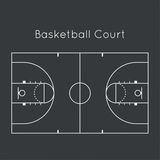 Basketball court. On black top view. Board to parse the tactics of attack, defense stock illustration