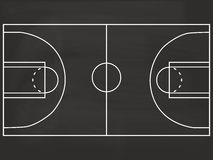 Basketball court blackboard illustration. Black basketball court chalkboard illustration Royalty Free Stock Image