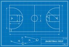 Basketball court on blueprint Stock Photo