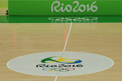 The basketball court in Carioca Arena 1 during Rio 2016 Olympic Games Royalty Free Stock Photos
