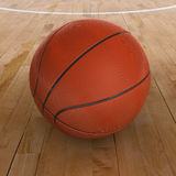 Basketball on Court with Clipping Path Royalty Free Stock Photography