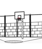 Basketball court coloring page. Hand drawn basketball court coloring page for kids Stock Photos