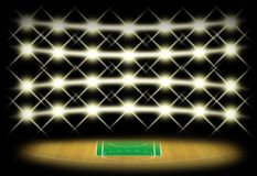 Basketball court in dark with spotlight background. Which free throw zone is green color. Illustration for use about spot concept Royalty Free Stock Photography