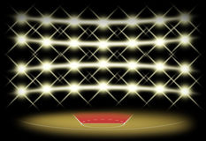 Basketball court in dark with spotlight background. Which free throw zone is red color. Illustration for use about spot concept Royalty Free Stock Images