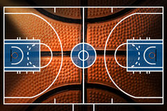 Basketball Court with detail of Basketball Royalty Free Stock Image