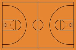 Basketball court floor with line on background. Vector illustration. royalty free illustration