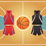 Basketball court. Form of ball players Stock Photography