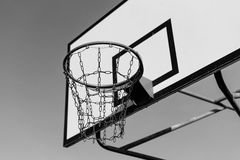 Basketball court and hoop Stock Photo