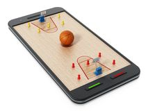 Basketball court, hoops and players standing on smartphone. 3D illustration.  Royalty Free Stock Image