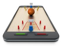Basketball court, hoops and players standing on smartphone. 3D illustration.  Royalty Free Stock Photo