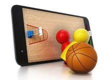 Basketball court, hoops and players standing on smartphone. 3D illustration.  Stock Photo