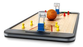 Basketball court, hoops and players standing on smartphone. 3D illustration.  Royalty Free Stock Photography