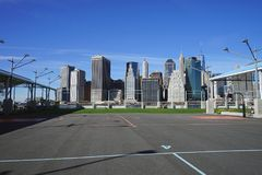 Basketball Court on Hudson River New York.  Royalty Free Stock Photos