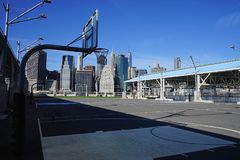 Basketball Court on Hudson River New York.  Royalty Free Stock Photo