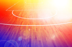 Basketball court. Image wooden floor basketball court Stock Images